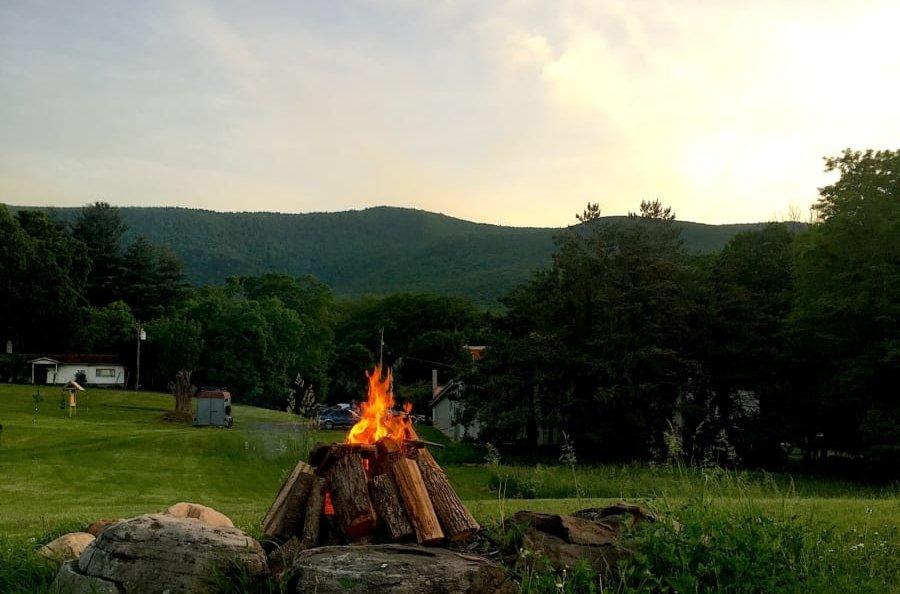 Campfire outside.
