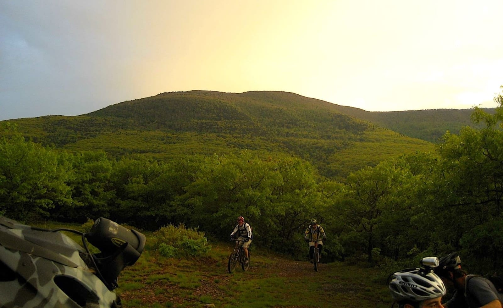 Mountain bikers in the Catskills.