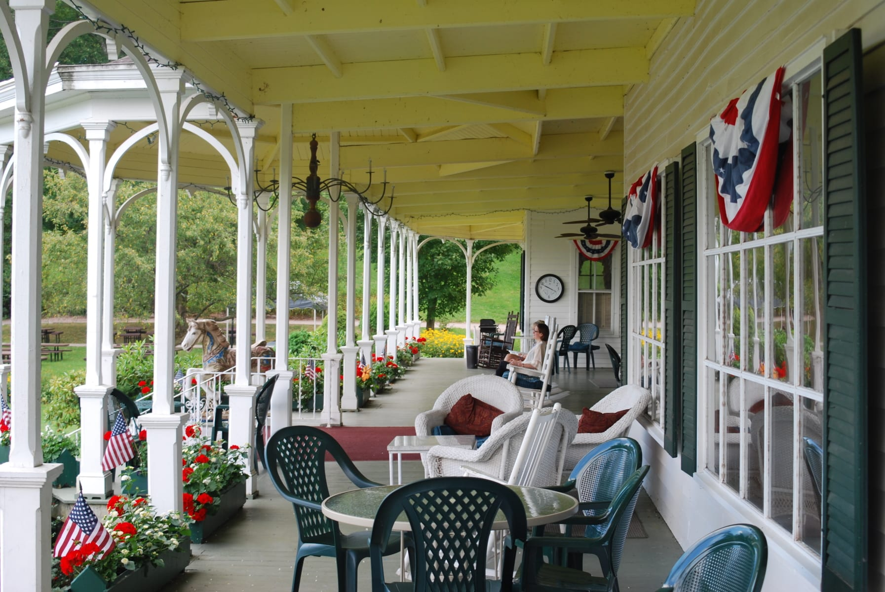 Outdoor front porch during summer