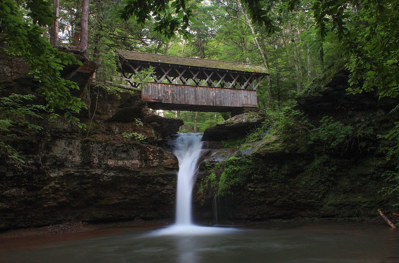 waterfalls, artist falls, catskill waterfalls, covered bridge
